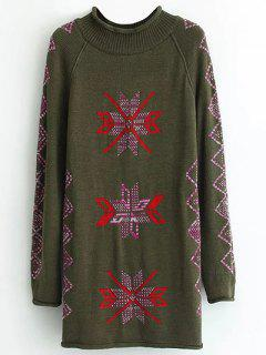 Geometric Pattern Jacquard Long Sweater - Army Green
