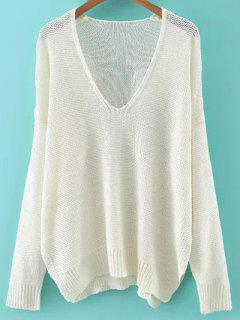 Lâche High-Low V Neck Pull à Manches Longues - Blanc M