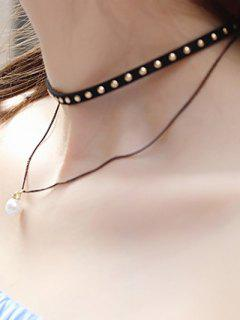 Rivet Layered Faux Pearl Choker - Black