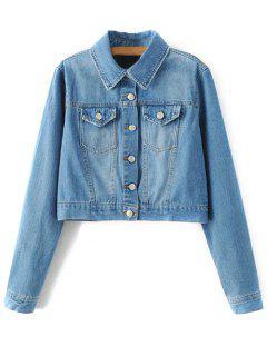 Embroidered Back Denim Jacket - Blue S