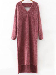 Recortable Vestido De Suéter Con Cuello En V Manga Larga - Rojo Purpúreo S