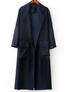Escudo Raja Del Lado De La Solapa Del Cuello De Manga Larga Trench - Azul Purpúreo S