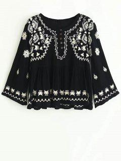 Top Bordado De Boho - Negro S