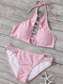 Hollow Out High Neck Pink Bikini Set - Pink L