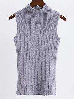 Sleeveless High Neck Sweater - Gray