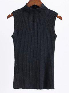 Sleeveless High Neck Sweater - Black