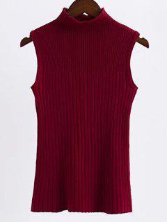 Sin Mangas De Cuello Alto Suéter - Vino Rojo