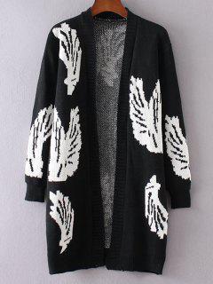 Motif Wing Manches Longues Cardigan - Noir