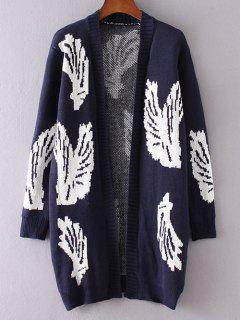 Wing Pattern Long Sleeve Cardigan - Purplish Blue