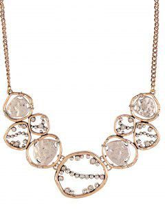Cut Out Hammered Geometric Necklace - Rose Gold