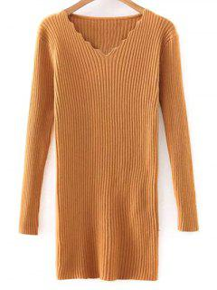 Slimming V Neck Long Sleeve Sweater Dress - Yellow