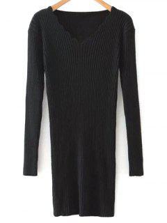 Minceur Col V à Manches Longues Robe Pull - Noir