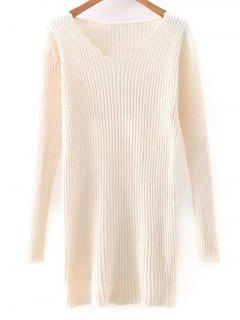 Slimming V Neck Long Sleeve Sweater Dress - Off-white