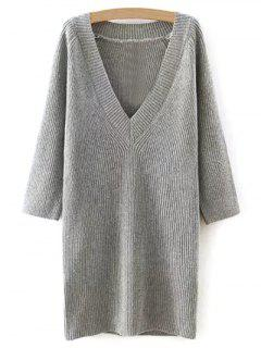 Solid Color Plunging Neck Sweater Dress - Gray