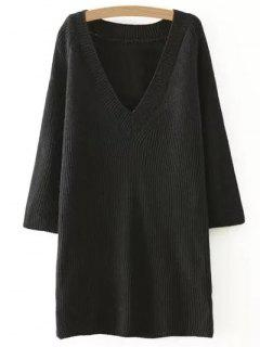 Solid Color Plunging Neck Sweater Dress - Black