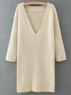 Robe Pull à La Mode Couleur Unie Cou Plongeant Pour Femmes - Blanc Cassé