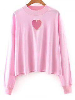 Solid Color Long Sleeve Cutout Sweatshirt - Pink M