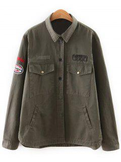 Lettre Patch Design Turn Down Collar Jacket - Vert Armée S