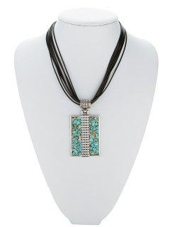 Tiered Rectangle Turquoise Multilayered Necklace - Silver Gray