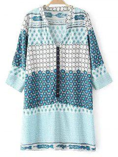 V Neck 3/4 Sleeve Shift Dress - Light Blue S