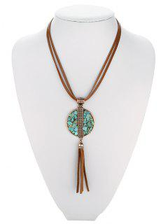 Geometric Turquoise Fringe Necklace - Antique Brown