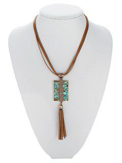 Geometric Turquoise Multilayered Necklace - Antique Brown