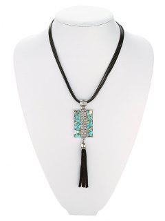 Geometric Turquoise Multilayered Necklace - Black