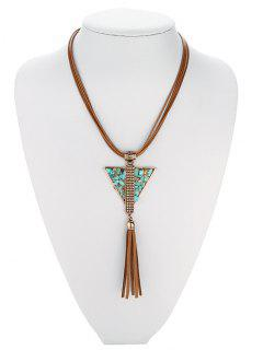 Layered Triangle Turquoise Fringe Necklace - Antique Brown