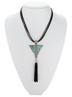 Layered Triangle Turquoise Fringe Necklace - Black