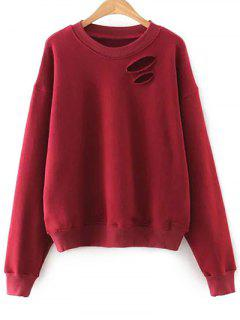 Solide Rond Couleur Neck Cutout Sweatshirt - Rouge S