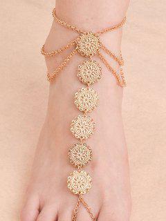 Blossom Sequins Rhinestone Anklet - Golden