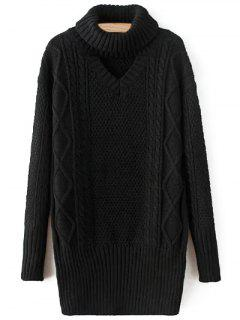 Turtleneck Long Jumper - Black