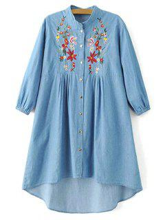 Floral Embroidered High Low Chambray Tunic Dress - Blue S