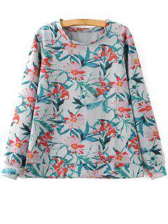 Floral Print Sweatshirt - L