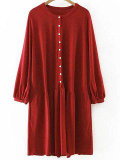 Single-breasted Manches Longues Robe Droite - Rouge S