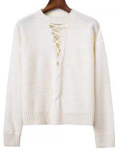 Kabel Strick Pullover Mit Schnürung - Weiß