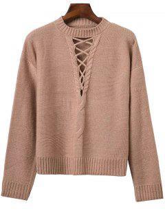 Kabel Strick Pullover Mit Schnürung - Khaki