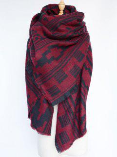 Geometric Large Shawl Scarf - Dark Red