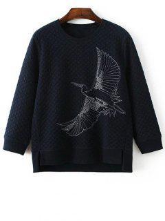 Bordada Pájaro De Cuello Redondo De La Camiseta - Azul Marino  M