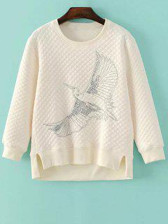 Bird Embroidered Crew Neck Sweatshirt - Off-white S