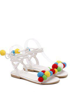 Tie Up Pom Poms Sandals - White 38