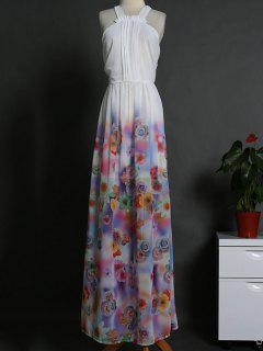 Ombre Sleeveless Floral Print Maxi Dress - White S