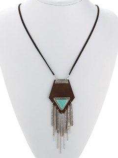 Geometric Fringed Necklace - Silver