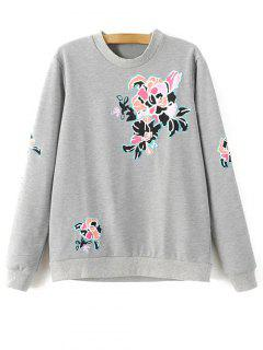Floral Pattern Grey Sweatshirt - Gray M
