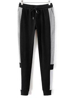 Color Block Jogging Pants - Black S