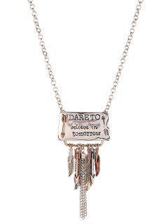 Proverb Leaf Fringed Necklace - Silver