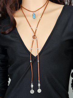 Coins Bullet Necklace - Brown