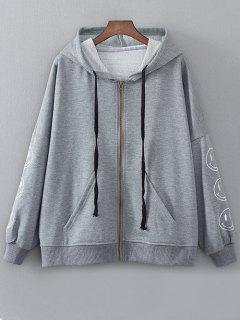 Zip Up Embroidered Hoodie - Gray L