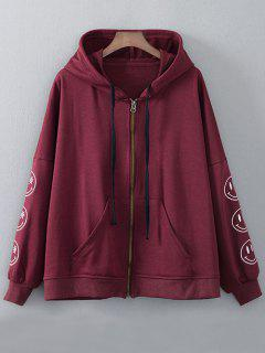 Zip Up Embroidered Hoodie - Wine Red M