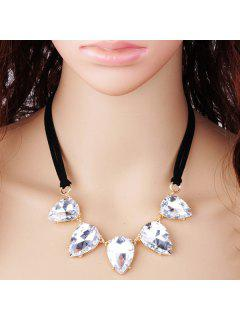 Faux Crystal Water Drop Pendant Necklace - White